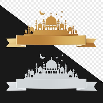 Realistic 3d mosque with ribbon gold and white color isolated