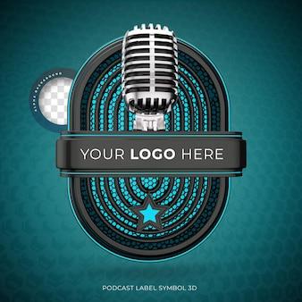 マイクレンダリングによるリアルな3dポッドキャストロゴ