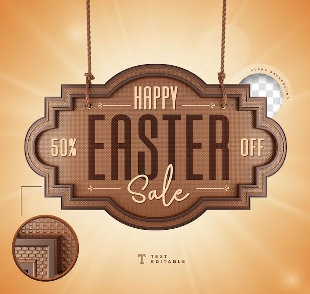 Realistic 3d render happy easter sale chocolate