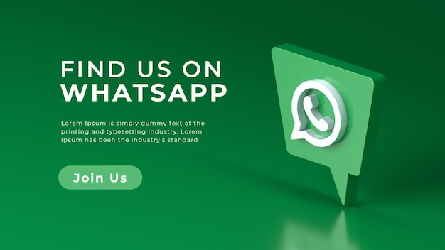 Realistic 3d rendering isolated whatsapp logo