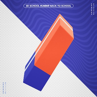 Realistic 3d rubber back to school for composition