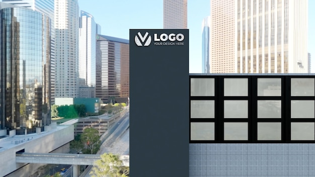 Realistic 3d sign logo mockup in company building