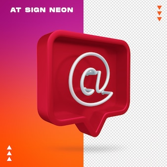 Realistic 3d at sign neon instagram