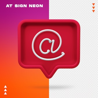 Realistic 3d at sign neon