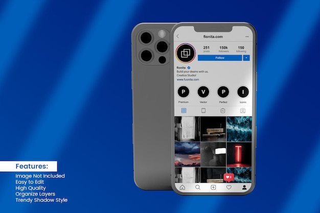Realistic 3d smartphone mockup design with social media post