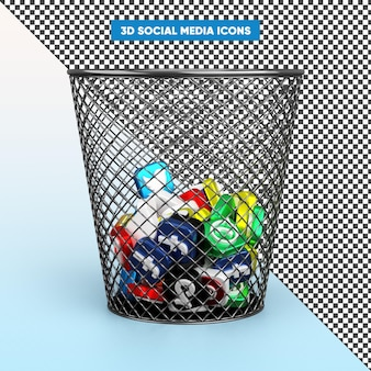 Realistic 3d social media icons in recycle bin rendering