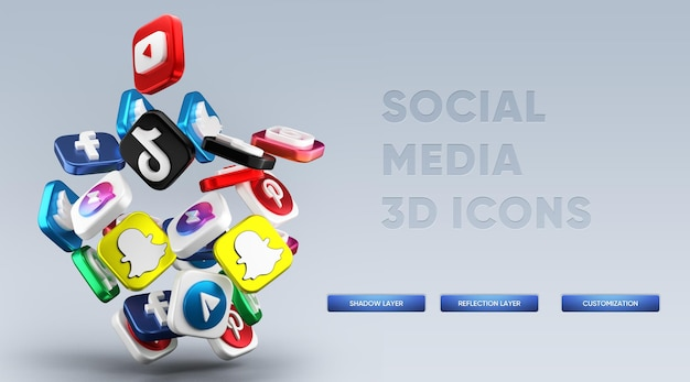 Realistic 3d social media icons rendering