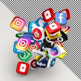 현실적인 3d 소셜 미디어 아이콘 렌더링