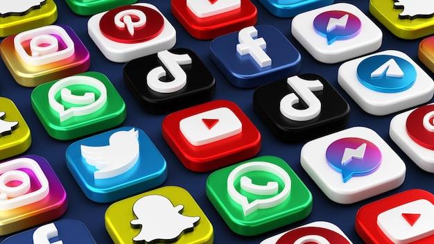 Realistic 3d social media icons rendering