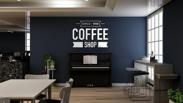 Realistic 3d wall logo mockup in the cafe with piano