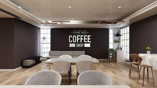 Realistic 3d wall logo mockup in the coffee shop with sofa