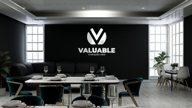 Realistic 3d wall logo mockup in the coffee shop