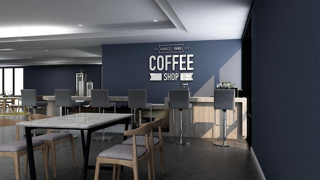 현대적인 카페 바 내부의 현실적인 3d 벽 로고 모형