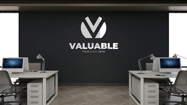 사무실 작업 공간에서 현실적인 3d 벽 로고 모형