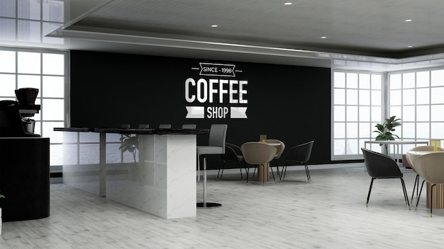 커피숍에서 현실적인 3d 벽 로고 모형
