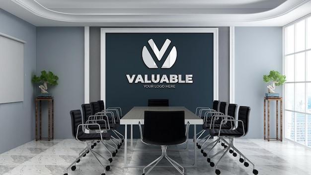 Реалистичный 3d макет логотипа стены в современном офисе, конференц-зале