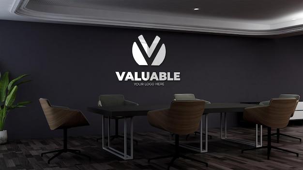 사무실 비즈니스 회의실에서 현실적인 3d 벽 로고 모형