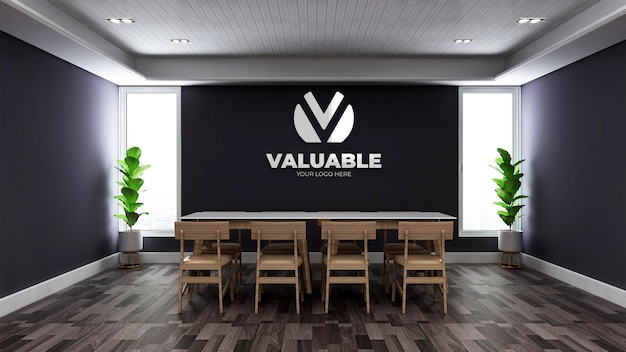 Realistic 3d wall logo mockup in the minimalist wooden office meeting room