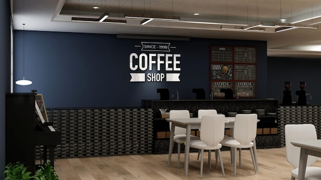 Realistic 3d wall logo mockup in modern coffee shop bar interior
