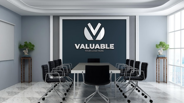 Realistic 3d wall logo mockup in the modern office business meeting room