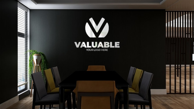 Realistic 3d wall logo mockup in the office business meeting room