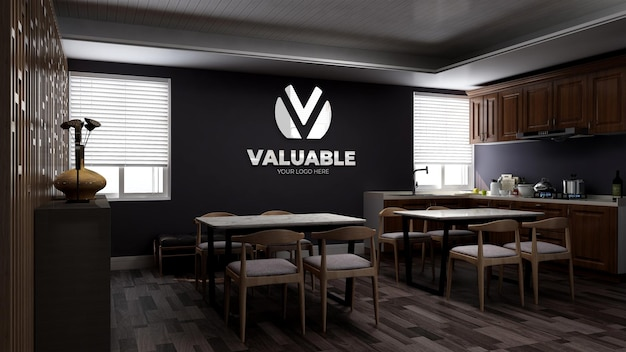Realistic 3d wall logo mockup in office pantry or kitchen roo with wooden minimalist design interior