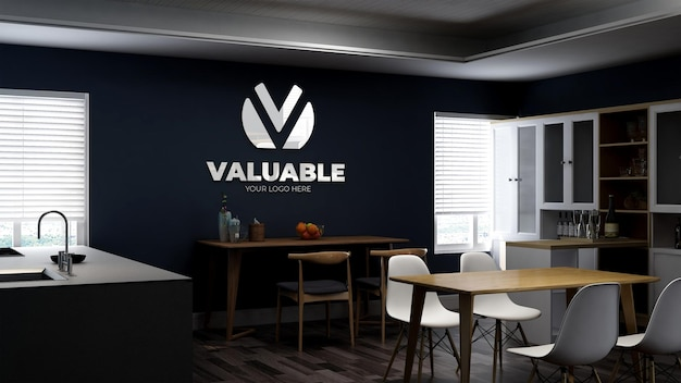 Realistic 3d wall logo mockup in the office pantry room