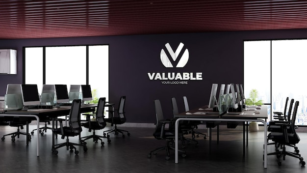 Realistic 3d wall logo mockup in office workspace