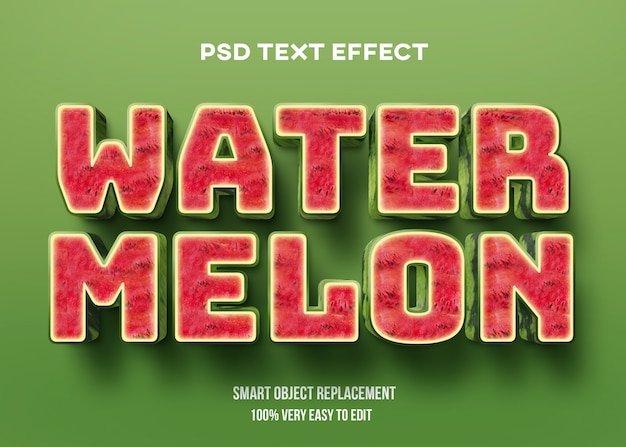 Realistic 3d watermelon text effect