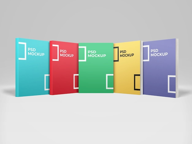Realistic 5 book softcover mockup front view