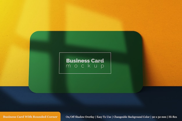 Realistic 90x50 mm horizontal rounded corner business card mockup in front view
