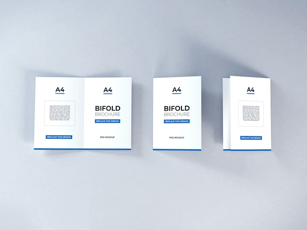 Realistic a4 bifold brochure mockup template psd