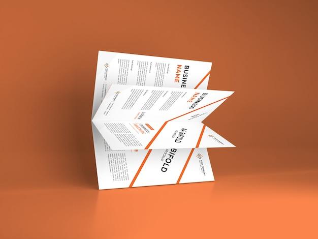 現実的なa4二つ折りパンフレットモックアップテンプレート