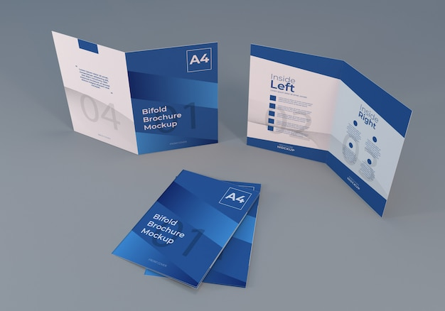 Realistic a4 bifold brochure mockup with gray