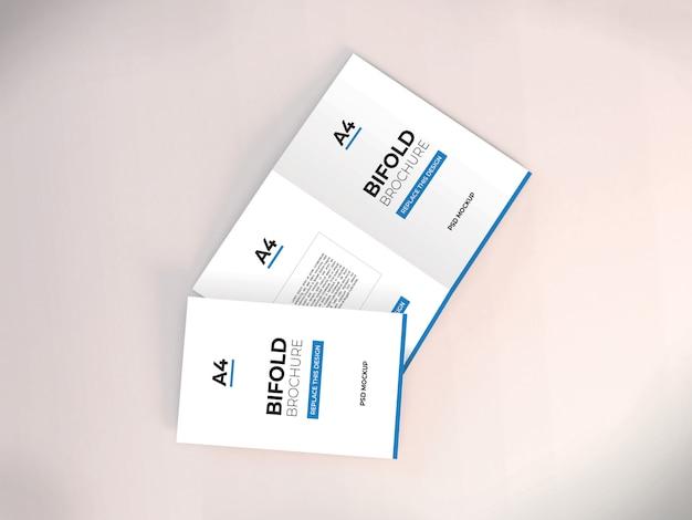現実的なa4二つ折りパンフレットモックアップ