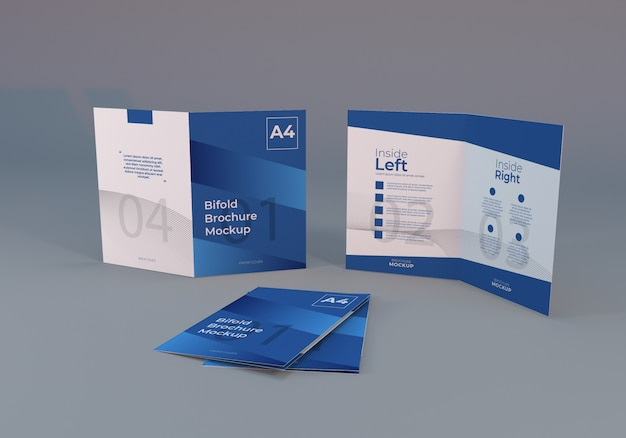 Realistic a4 bifold brochure paper mockup with gray