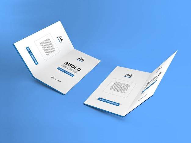 リアルなa4二つ折りパンフレットのモックアップ