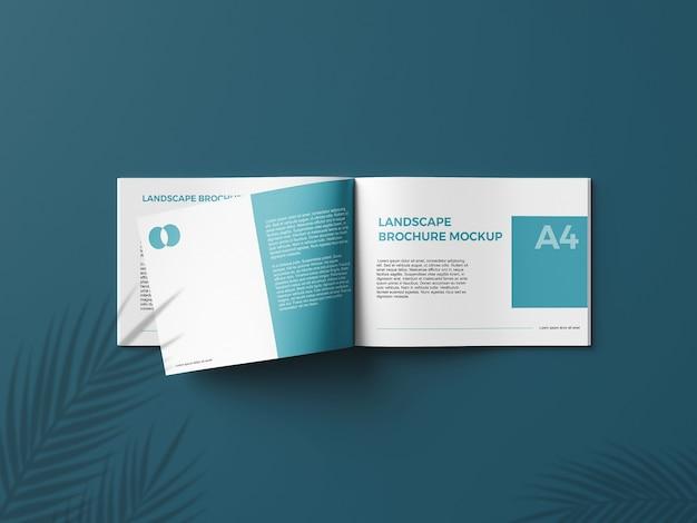 Realistic a4 landcape brochure mockup3