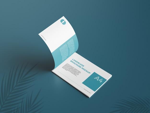 Realistic a4 landcape brochure mockup4