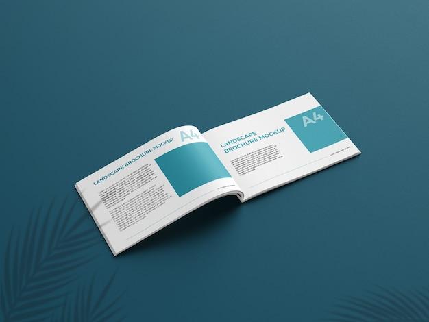 Realistic a4 landcape brochure mockup