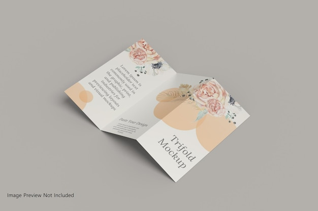 Realistic a4 trifold brochure mockup 3d rendering
