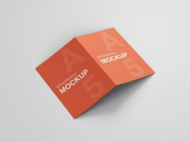 Realistic a5 bifold brochure mockup