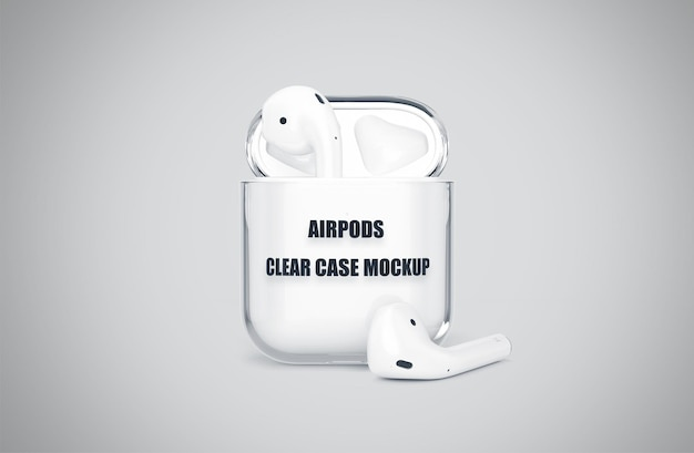 Realistic airpods clear case mockup isolated