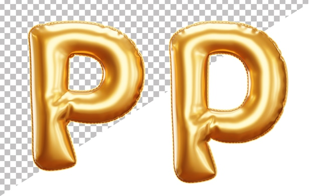 Realistic alphabet letter p foil balloon isolated