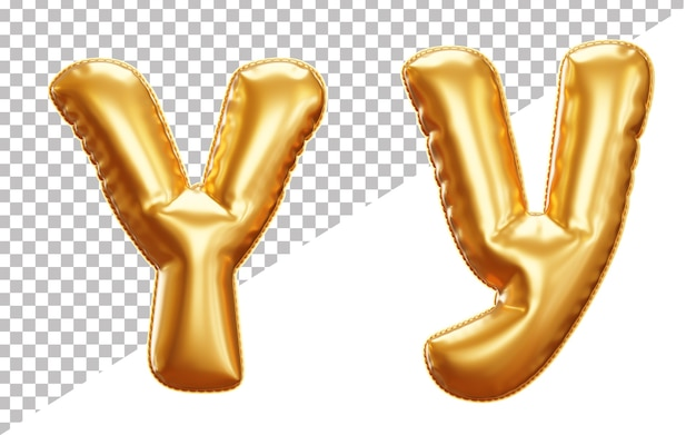 Realistic alphabet letter y foil balloon isolated