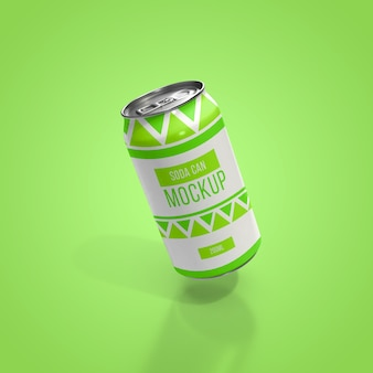 Realistic aluminum soft drink beverage can mockup layered