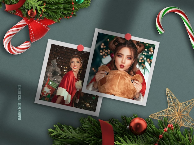 メリークリスマスと新年あけましておめでとうございますのための現実的でミニマリストのムードボードモックアップまたは紙のフォトフレームモックアップ