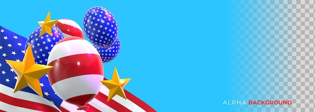 Realistic banners 4th of july independence day. 3d illustration