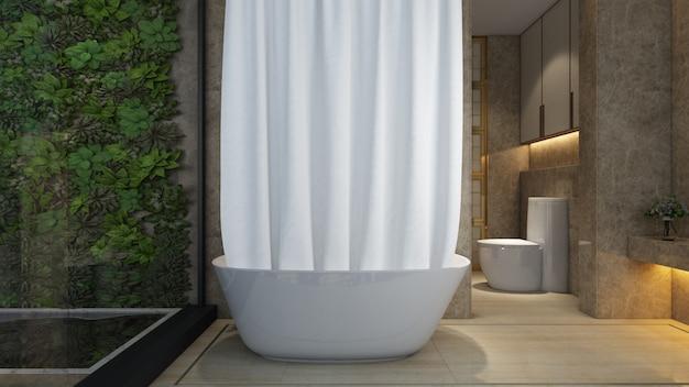 モダンな家のバスタブとトイレ付きの現実的なバスルーム