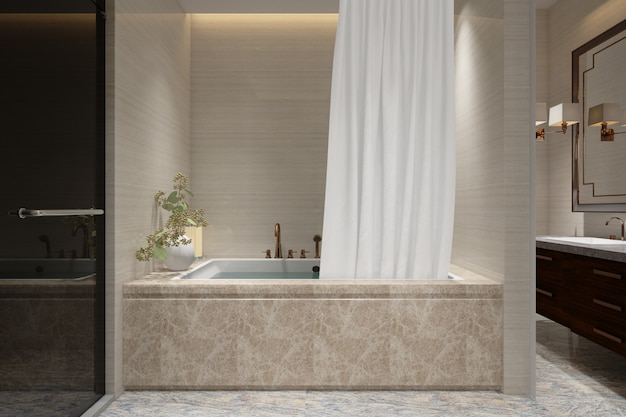 Realistic bathroom with bath and toilet in a modern house
